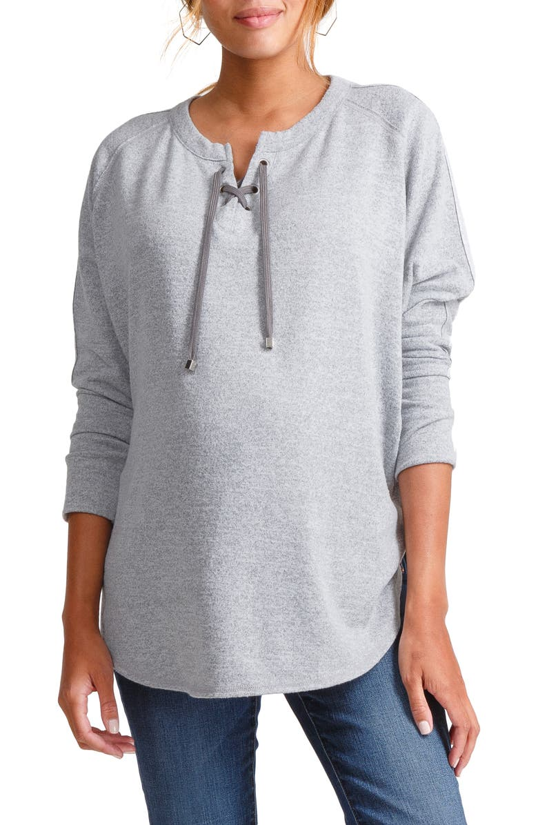 INGRID & ISABEL<SUP>®</SUP> Cocoon Lace-Up Maternity Top, Main, color, LIGHT HEATHER GREY