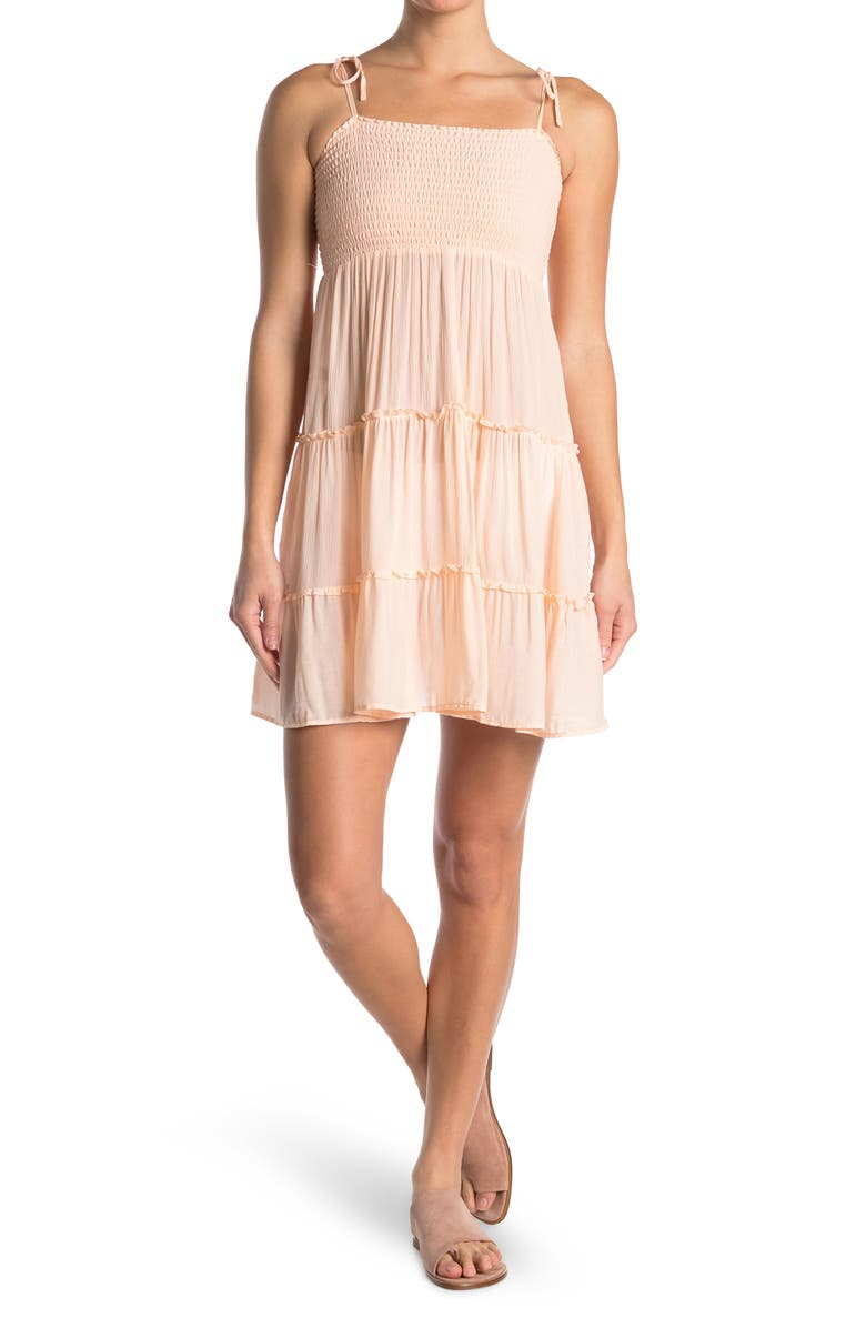 MAAJI Golden Pomegranate Smocked Tie Strap Cover-Up Dress, Main, color, PINK