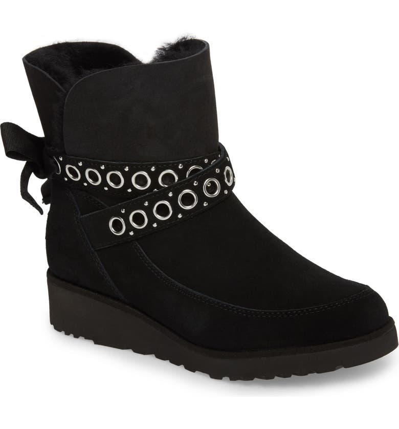 UGG<SUP>®</SUP> Alisia Grommet Bow Boot, Main, color, BLACK SUEDE