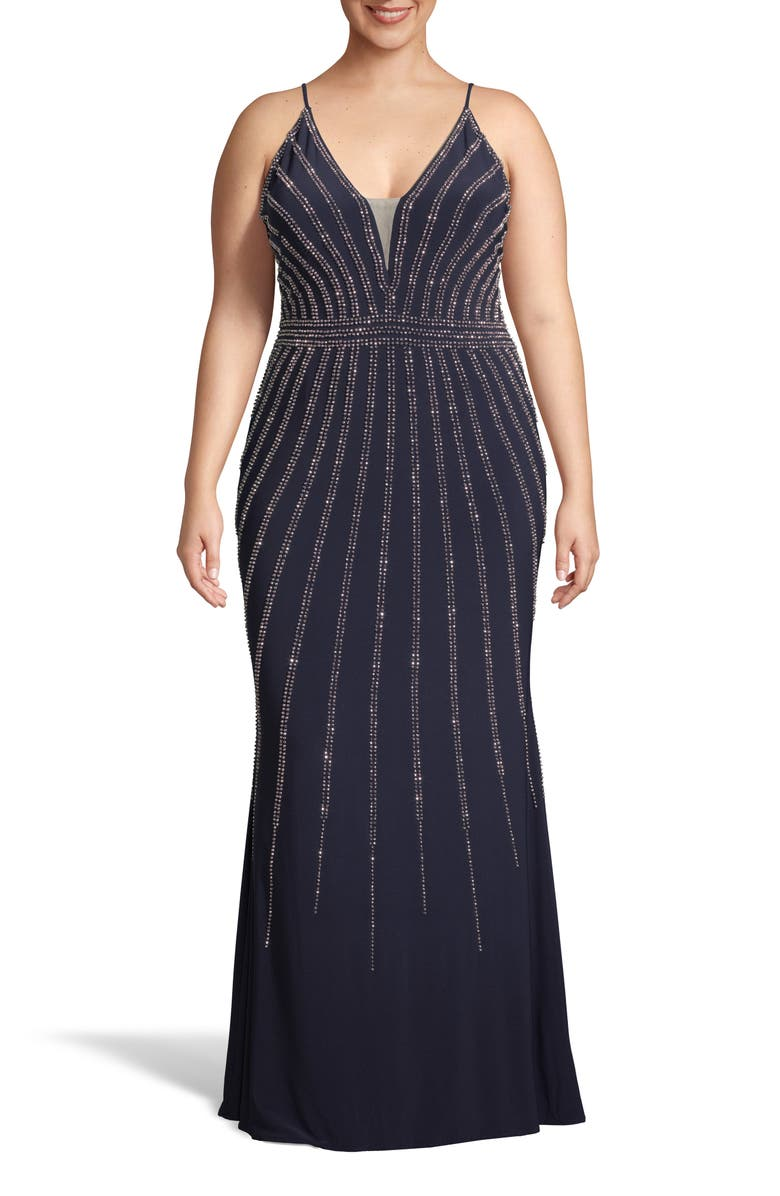 XSCAPE Beaded Trumpet Gown, Main, color, 410