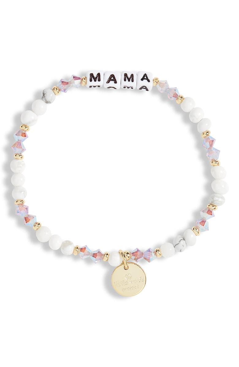 LITTLE WORDS PROJECT Mama Beaded Stretch Bracelet, Main, color, CREAMPUFF/ WHITE