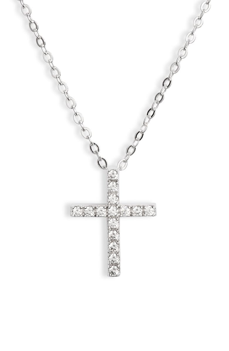 NORDSTROM Cubic Zirconia Cross Necklace, Main, color, CLEAR- SILVER