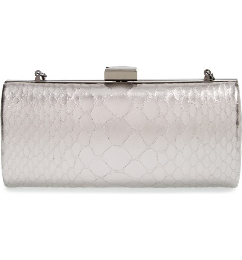 INGE CHRISTOPHER 'Enoshima' Reptile Embossed Metallic Leather Clutch, Main, color, 040