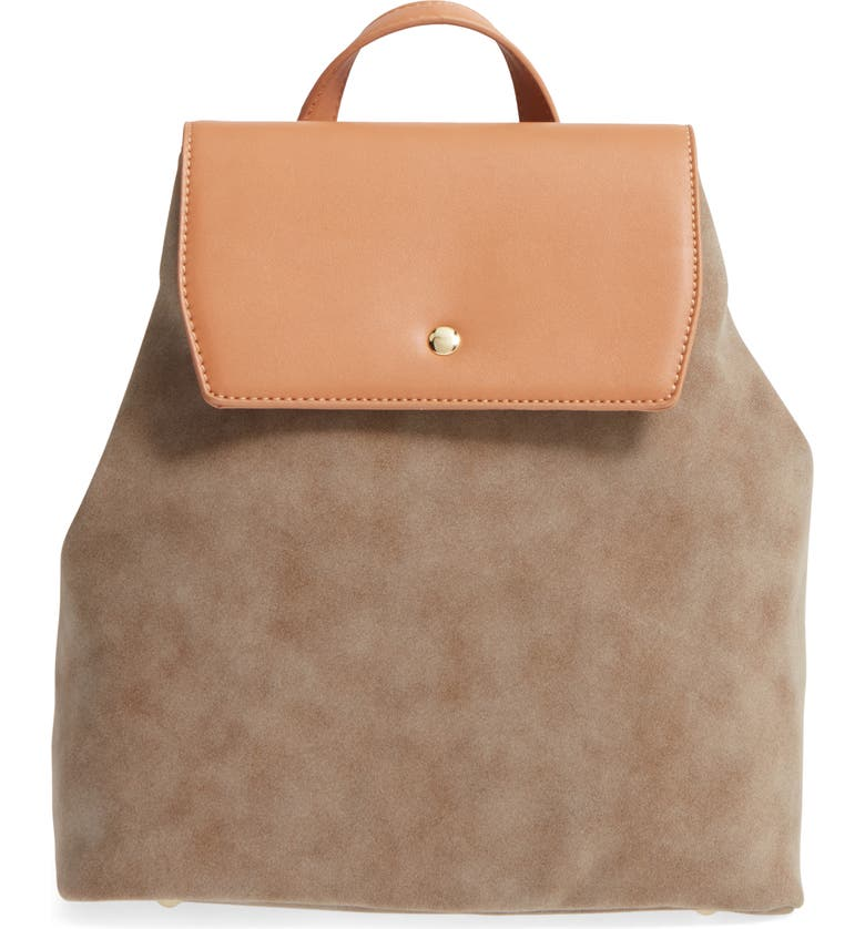 EMPERIA Two Tone Faux Leather Backpack, Main, color, TAUPE