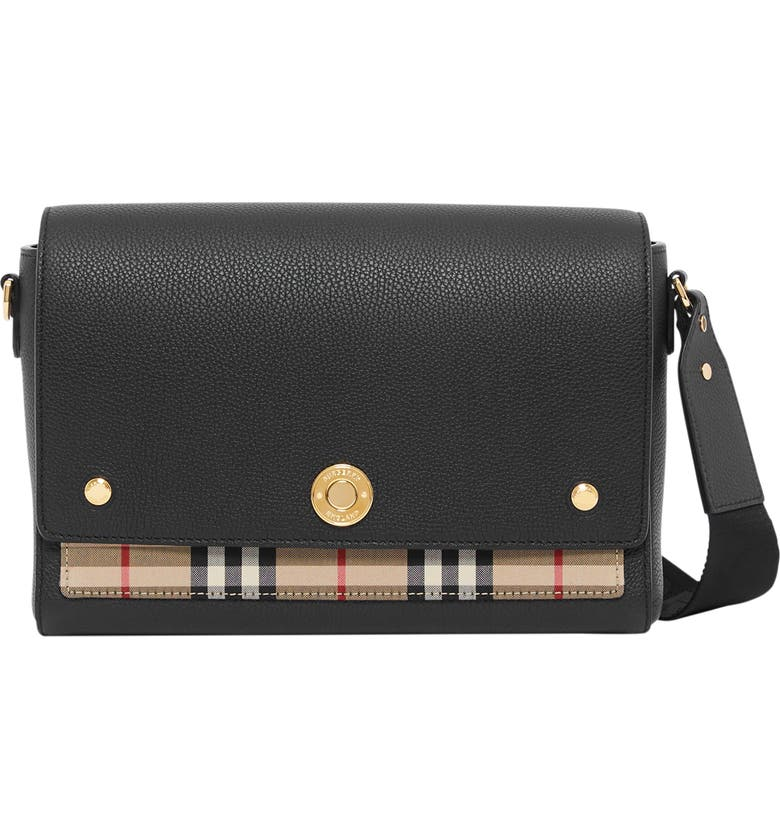 BURBERRY Note Leather & Vintage Check Crossbody Bag, Main, color, 001