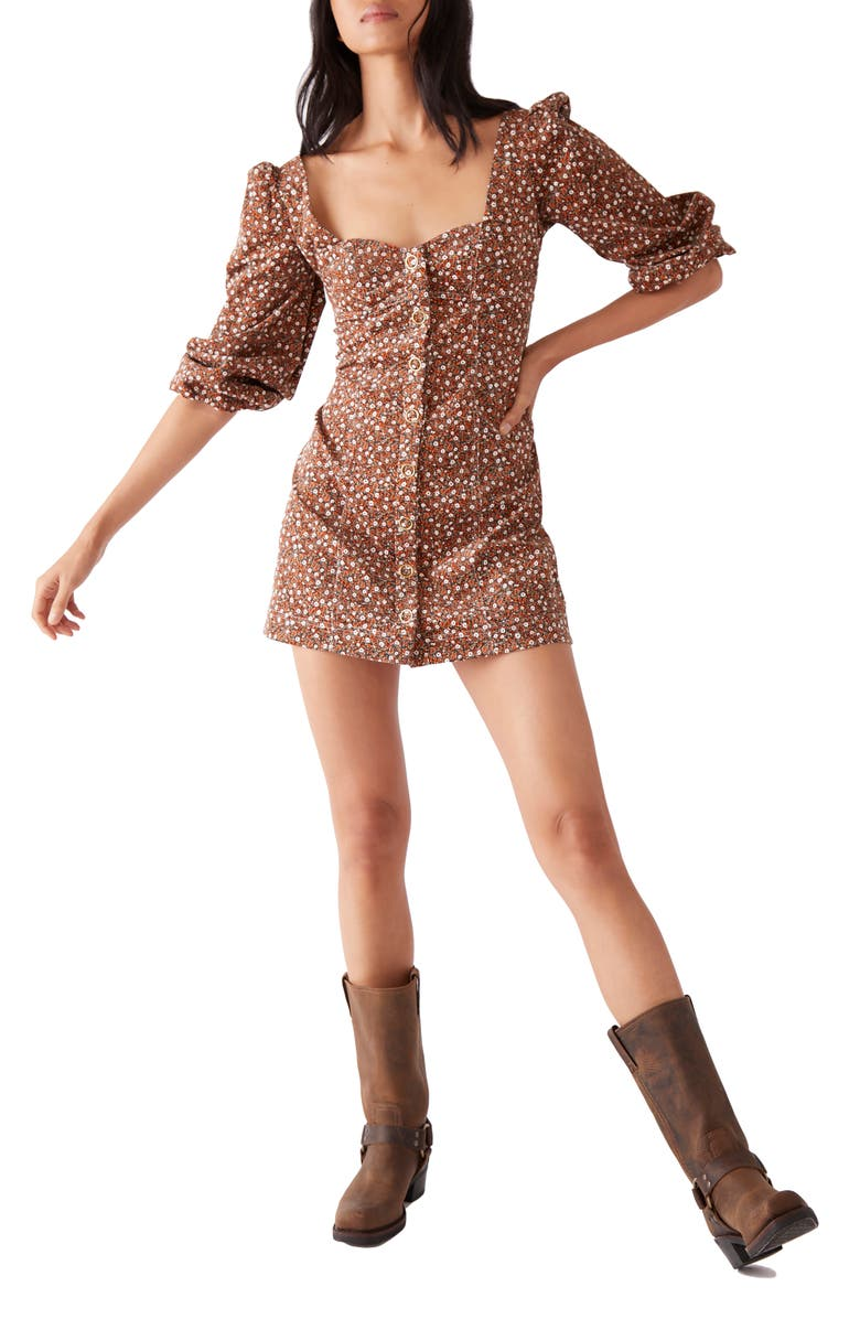 FREE PEOPLE Call Me Cord Puff Shoulder Minidress, Main, color, BLACK COMBO