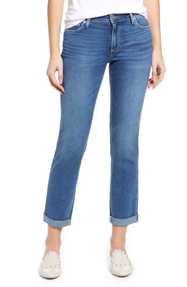 PAIGE Brigitte Raw Hem Slim Boyfriend Jeans, Main, color, CABBIE
