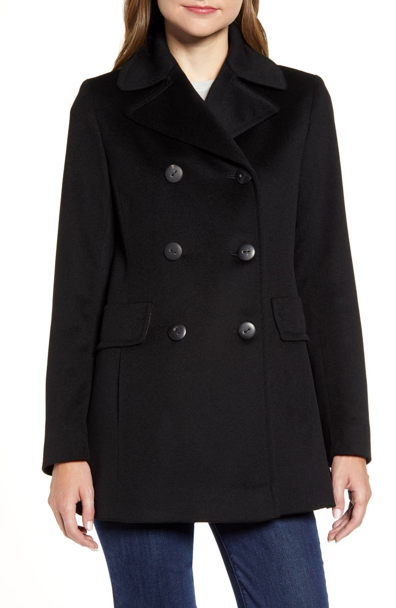 FLEURETTE Double Breasted Wool Peacoat, Main, color, 001