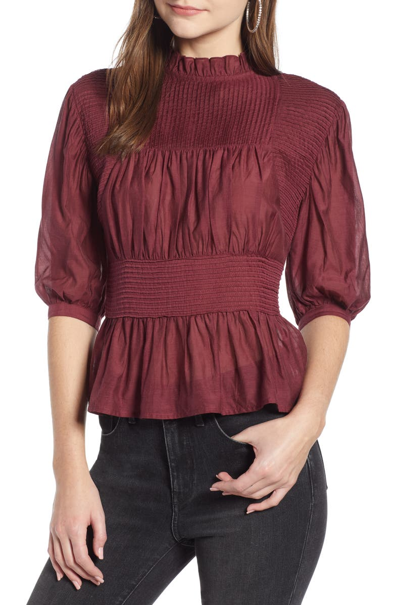 SOMETHING NAVY Pleated Peplum Top, Main, color, RED TANNIN