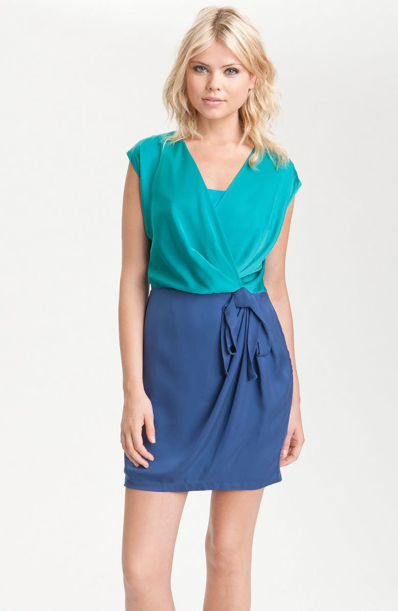 HEED Colorblock Faux Wrap Dress, Main, color, 440