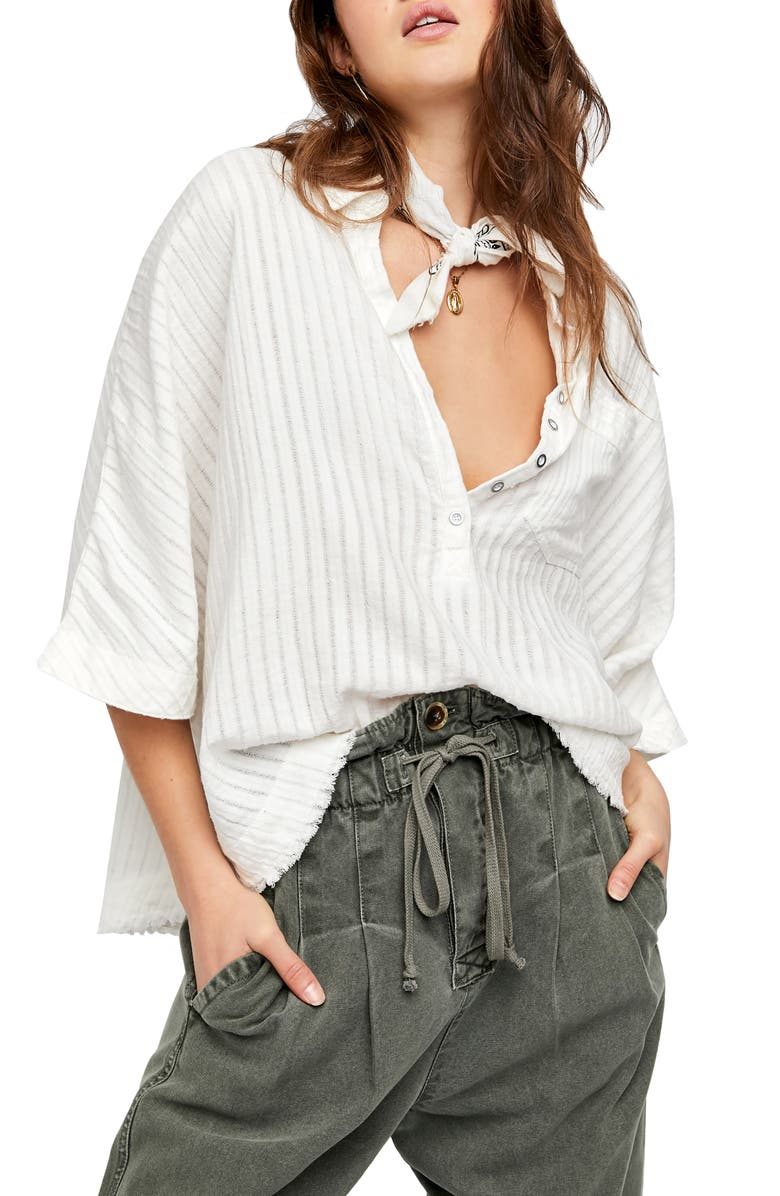 FREE PEOPLE The Ava Oversize Shirt, Main, color, IVORY