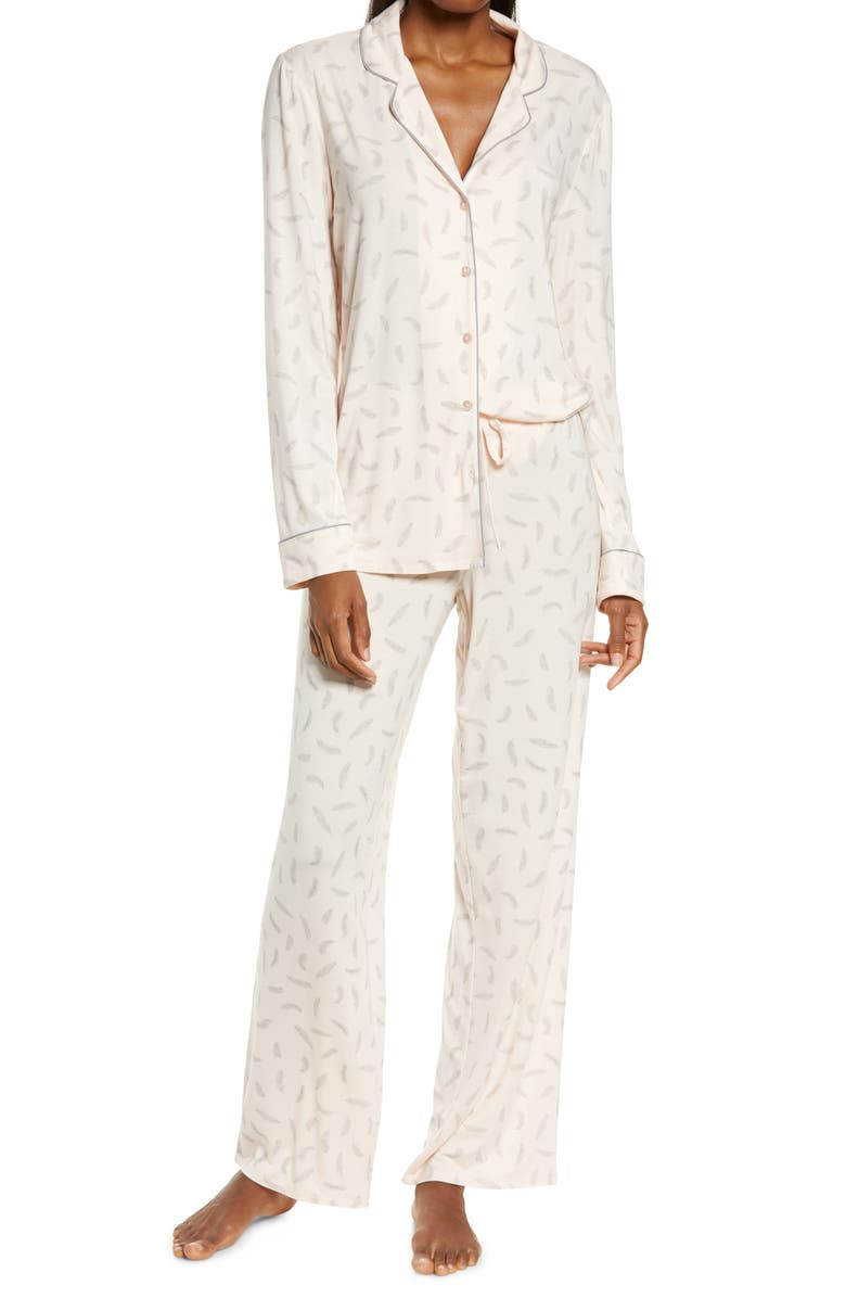NORDSTROM LINGERIE Moonlight Pajamas, Main, color, PINK CREOLE FALLING FEATHERS