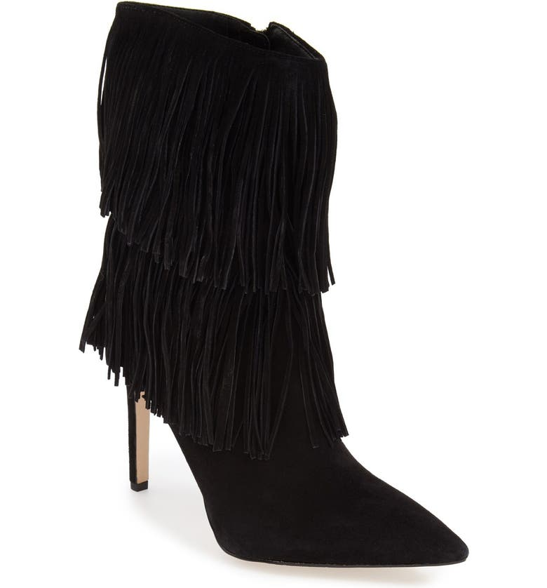 SAM EDELMAN 'Belinda' Fringed Suede Pointy Toe Boot, Main, color, 002