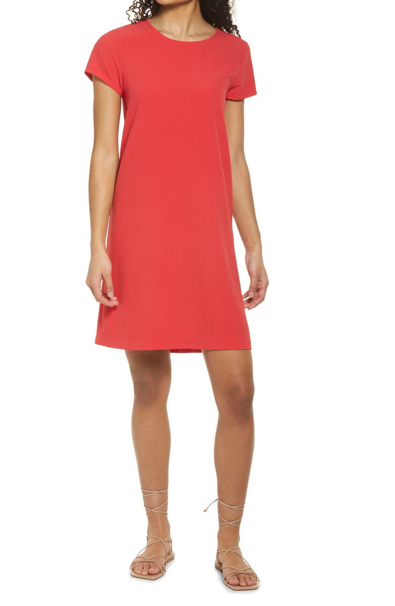 CHELSEA28 Crepe Shift Dress, Main, color, RED SAUCY