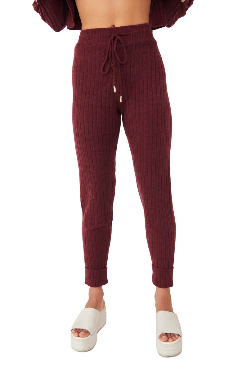 FREE PEOPLE Around The Clock Joggers, Main, color, WINE