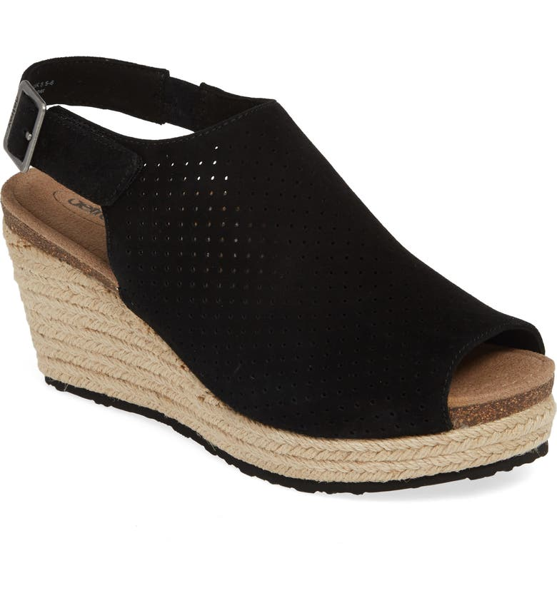 AETREX Sherry Espadrille Wedge Sandal, Main, color, BLACK SUEDE