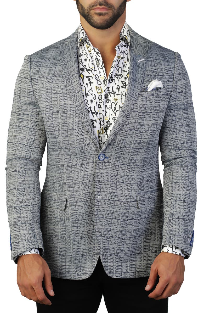 MACEOO Descartes Regular Fit Chess Plaid Sport Coat, Main, color, 420