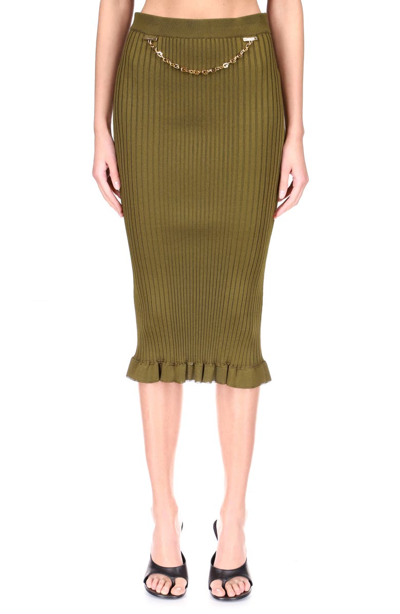GIVENCHY Chain Detail Rib Knit Pencil Skirt, Main, color, BOTTLE GREEN