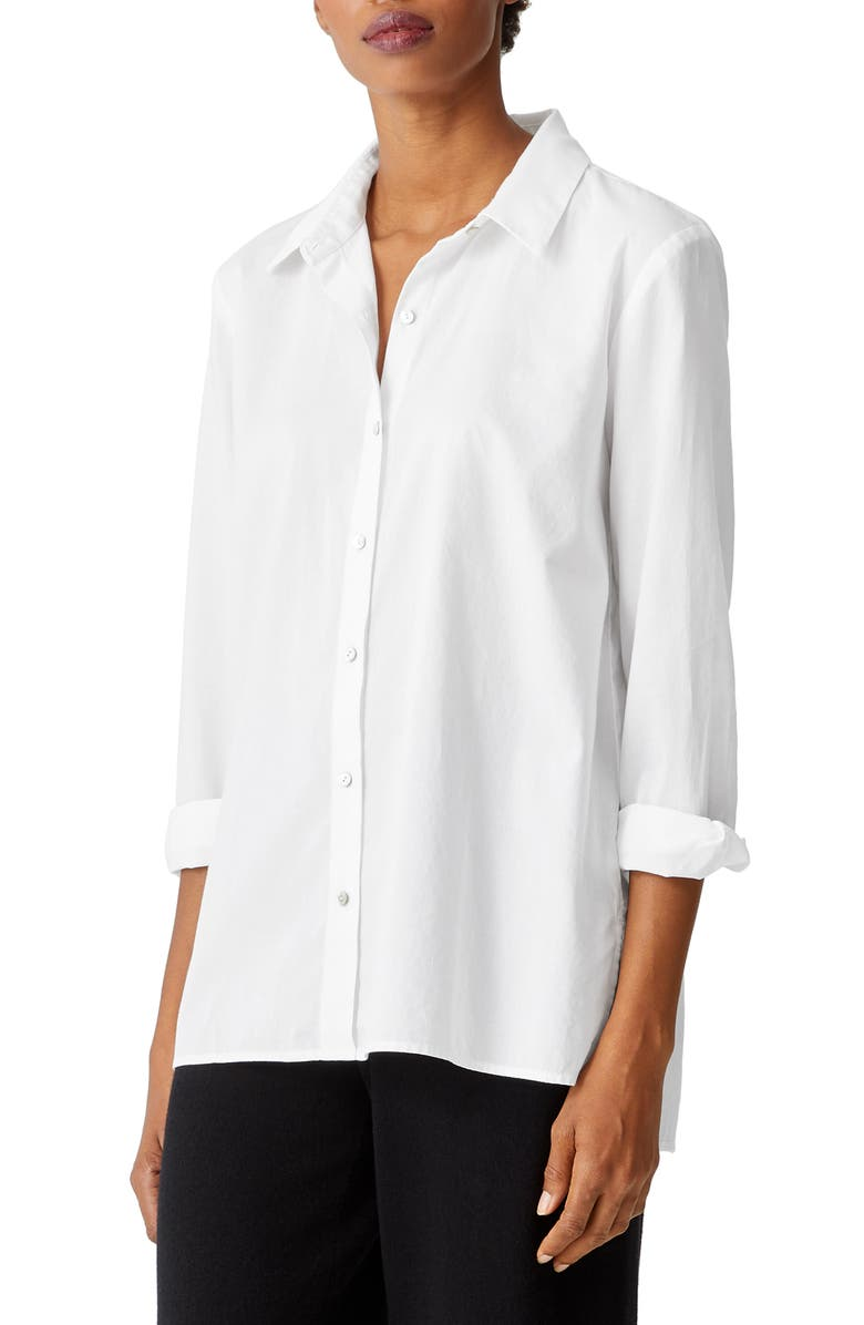 EILEEN FISHER Button-Up Shirt, Main, color, WHITE