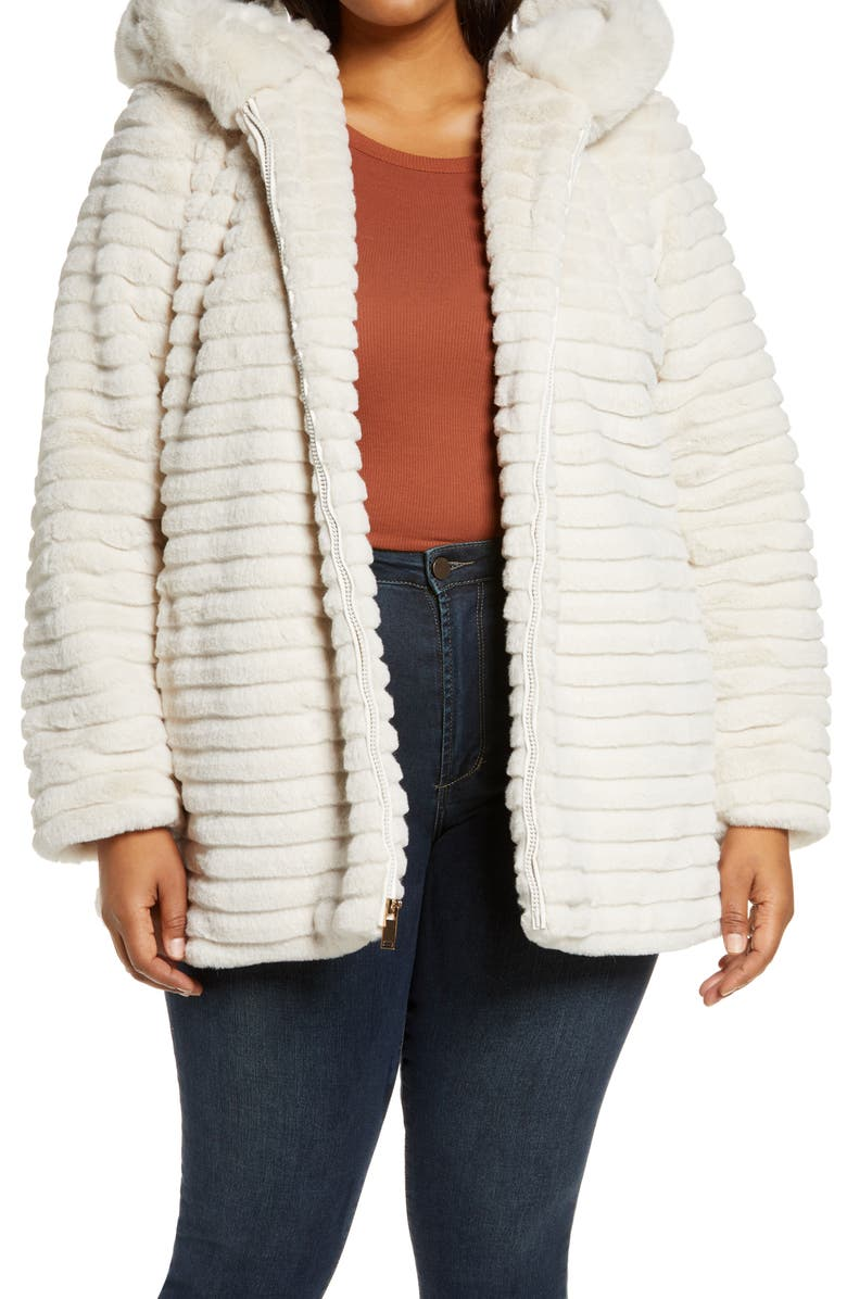 GALLERY Hooded Faux Fur Jacket, Main, color, CREAM