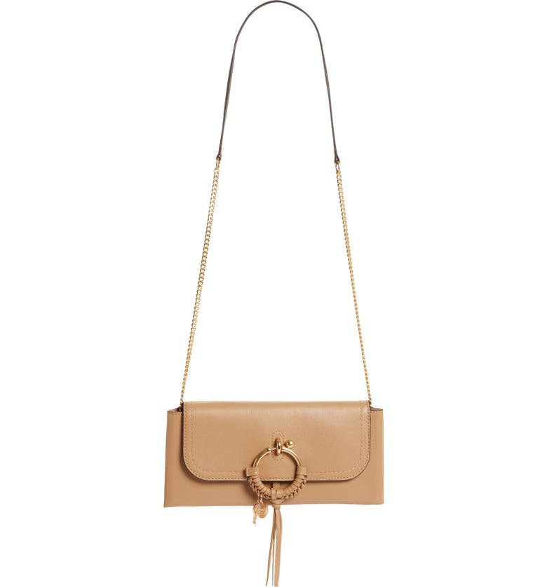 SEE BY CHLOÉ Joan Leather Shoulder Bag, Main, color, COCONUT BROWN