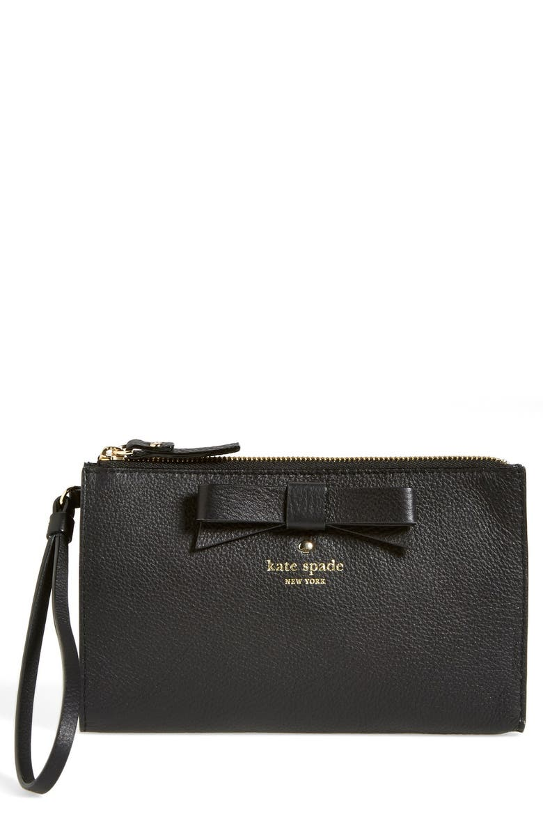 KATE SPADE NEW YORK 'north court - bow leyna' pebbled leather wristlet clutch, Main, color, BLACK