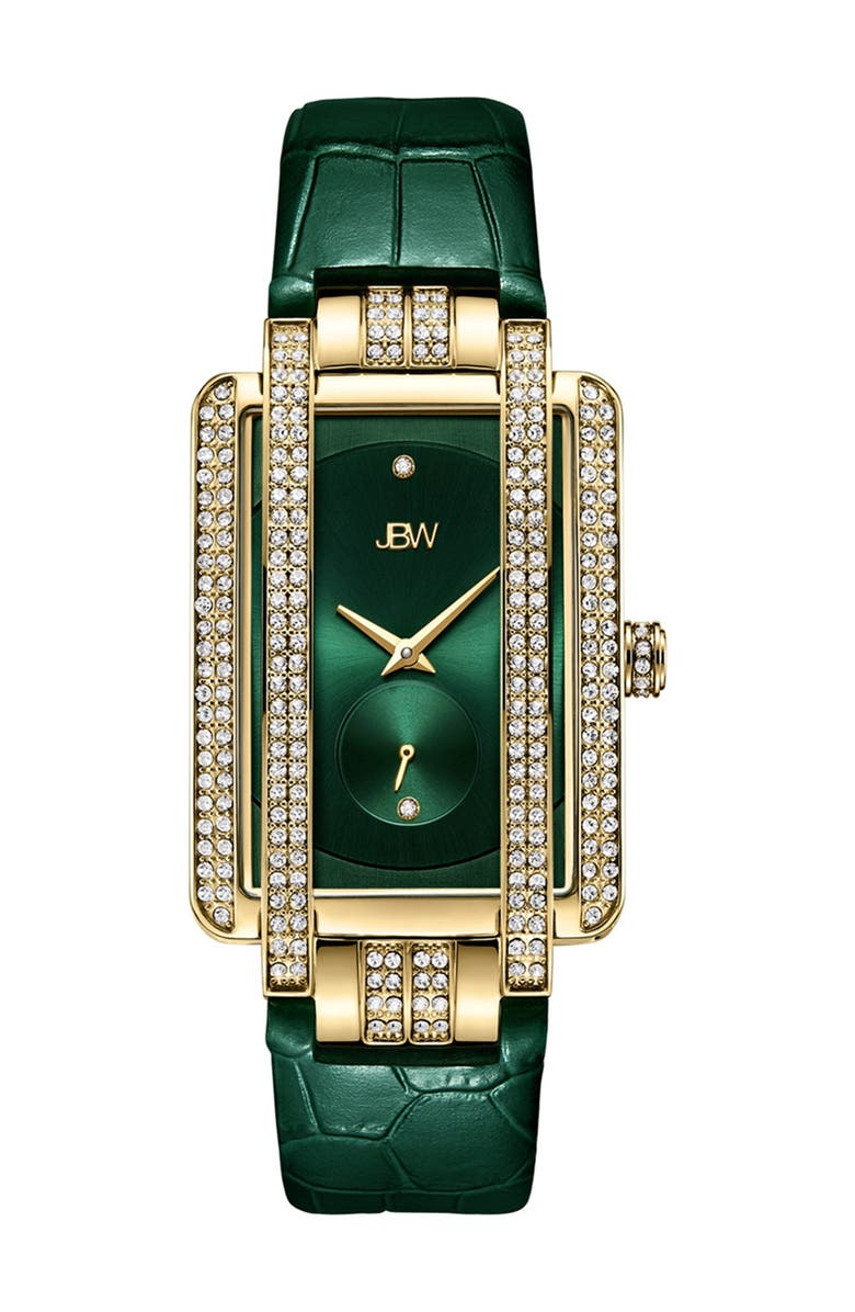 JBW Women's Mink Diamond Croc Embossed Leather Strap Watch, 28mm - 0.02 ctw, Main, color, GOLD