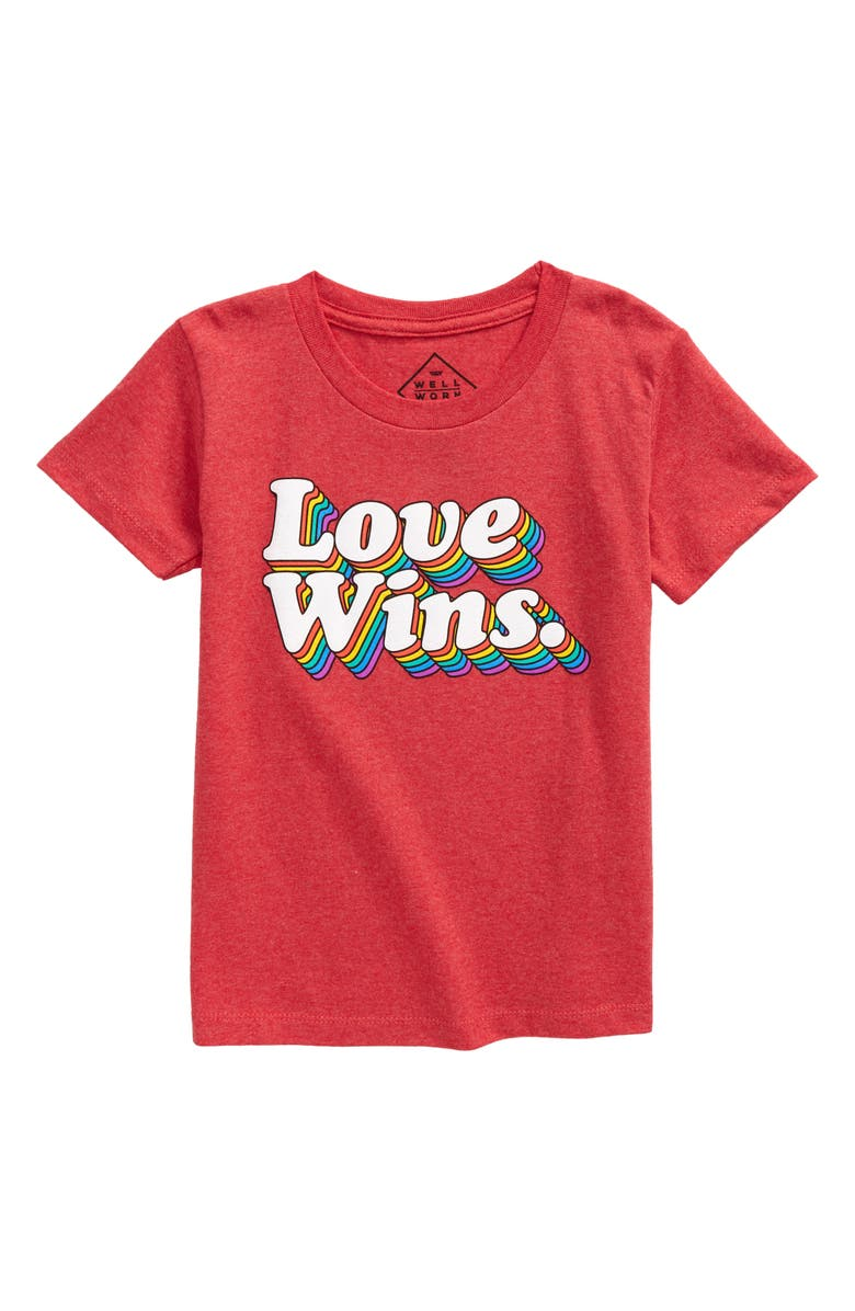 JEM Kids' Love Wins Pride Graphic Tee, Main, color, RED HEATHER
