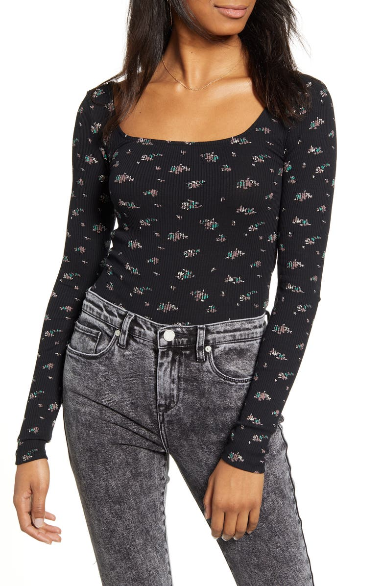 BDG URBAN OUTFITTERS Ditsy Print Ribbed Top, Main, color, 440
