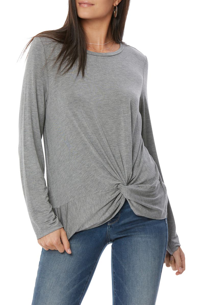 NYDJ Twist Knot Top, Main, color, HEATHER GREY