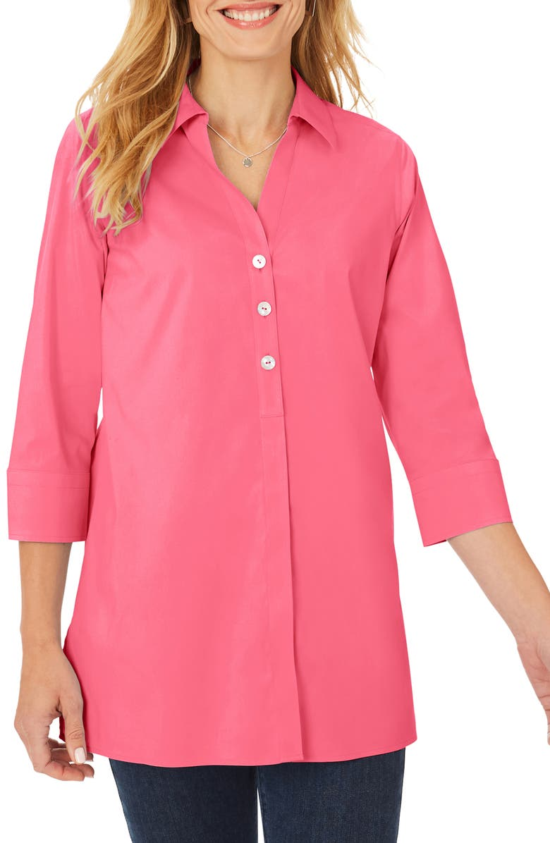 FOXCROFT Pamela Stretch Button-Up Tunic, Main, color, THINK PINK