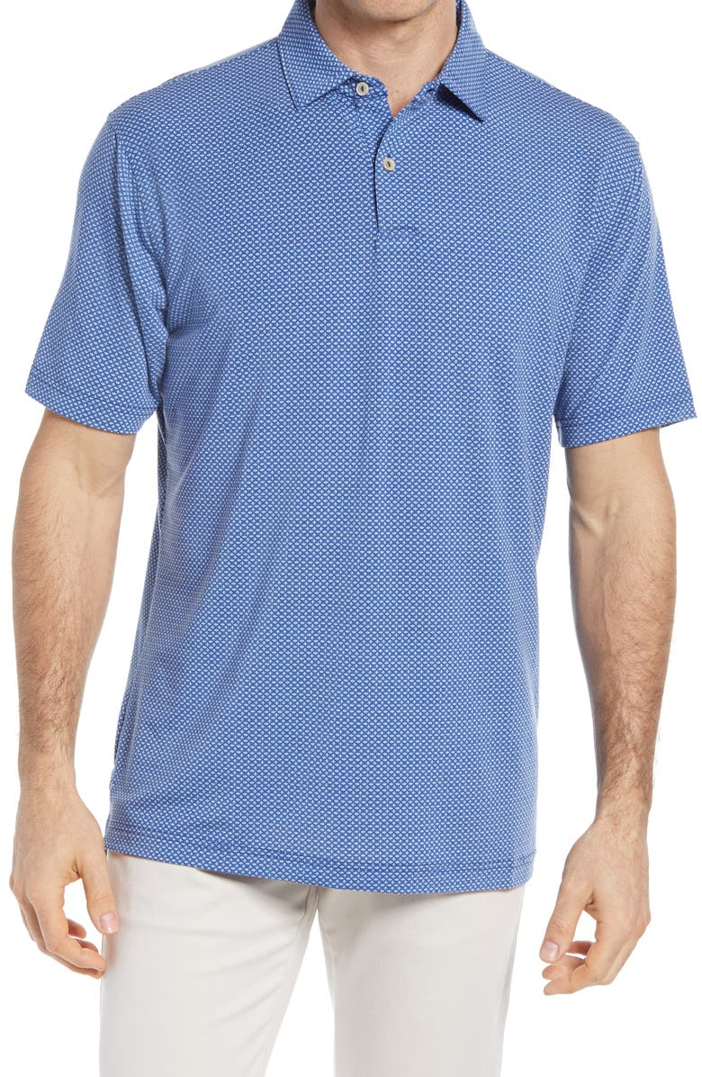 PETER MILLAR drirelease<sup>®</sup> Geo Print Short Sleeve Performance Jersey Polo, Main, color, ATLANTIC BLUE