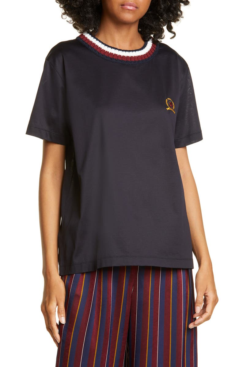 HILFIGER COLLECTION Rib Neck Crest Embroidered Tee, Main, color, 020