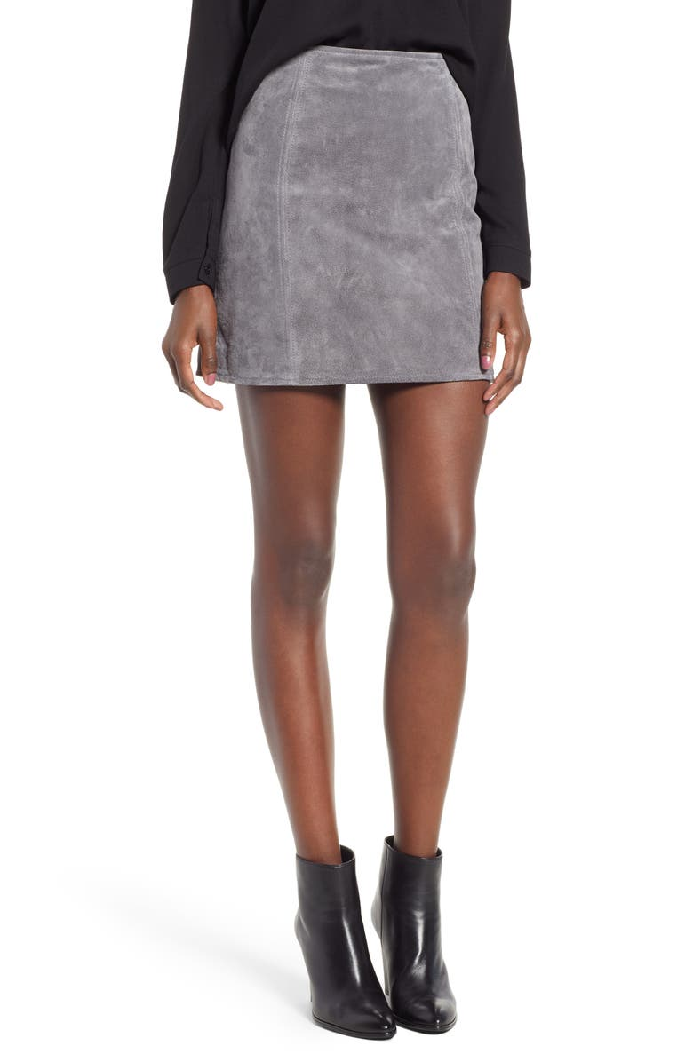 BLANKNYC A-Line Suede Skirt, Main, color, SILVER SCREEN
