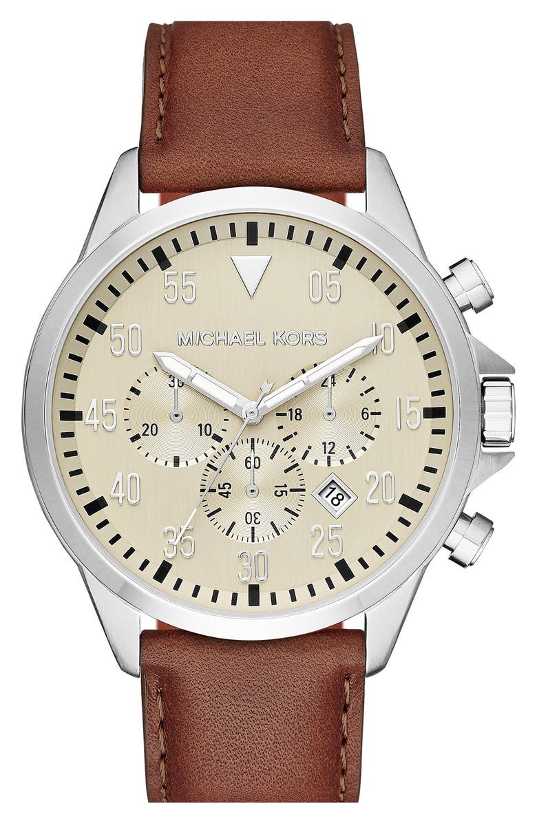 MICHAEL KORS 'Gage' Chronograph Leather Strap Watch, 45mm, Main, color, 000