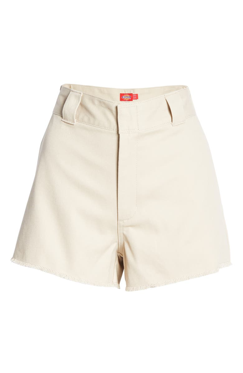 DICKIES Frayed Cotton Blend Worker Shorts, Main, color, KHAKI