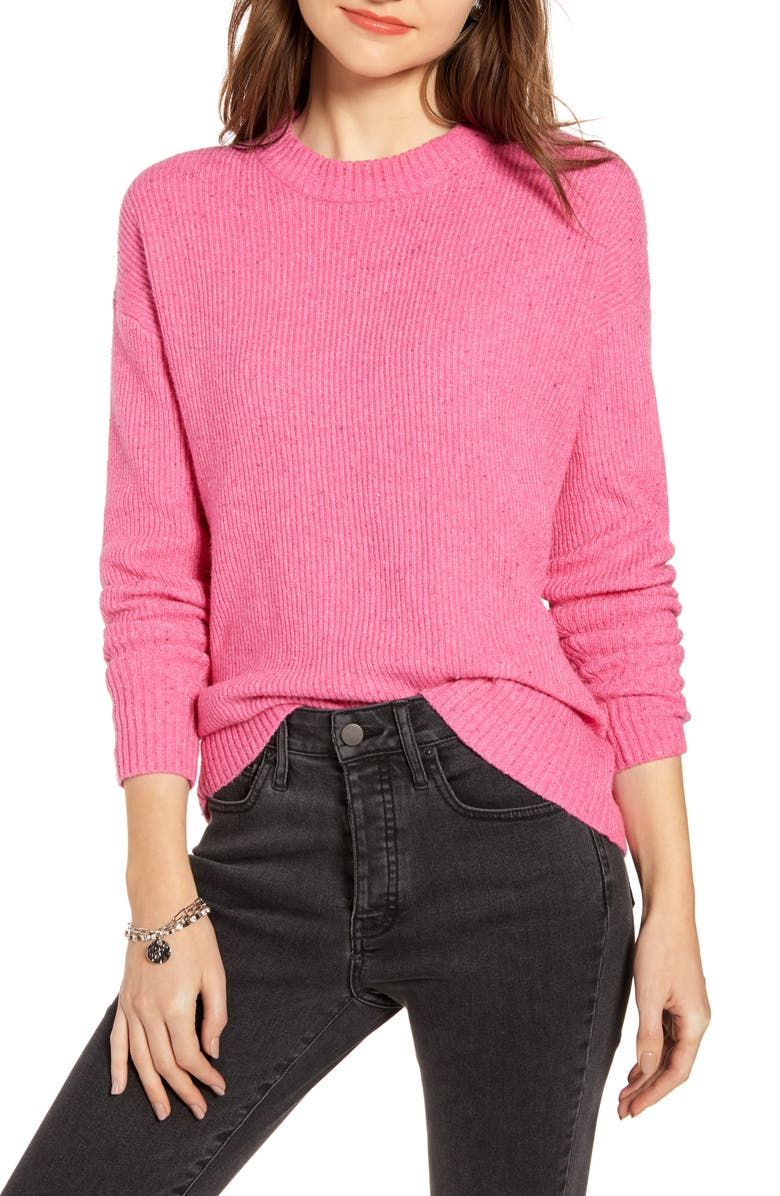 SOMETHING NAVY Flecked Crewneck Sweater, Main, color, PINK SHOCK