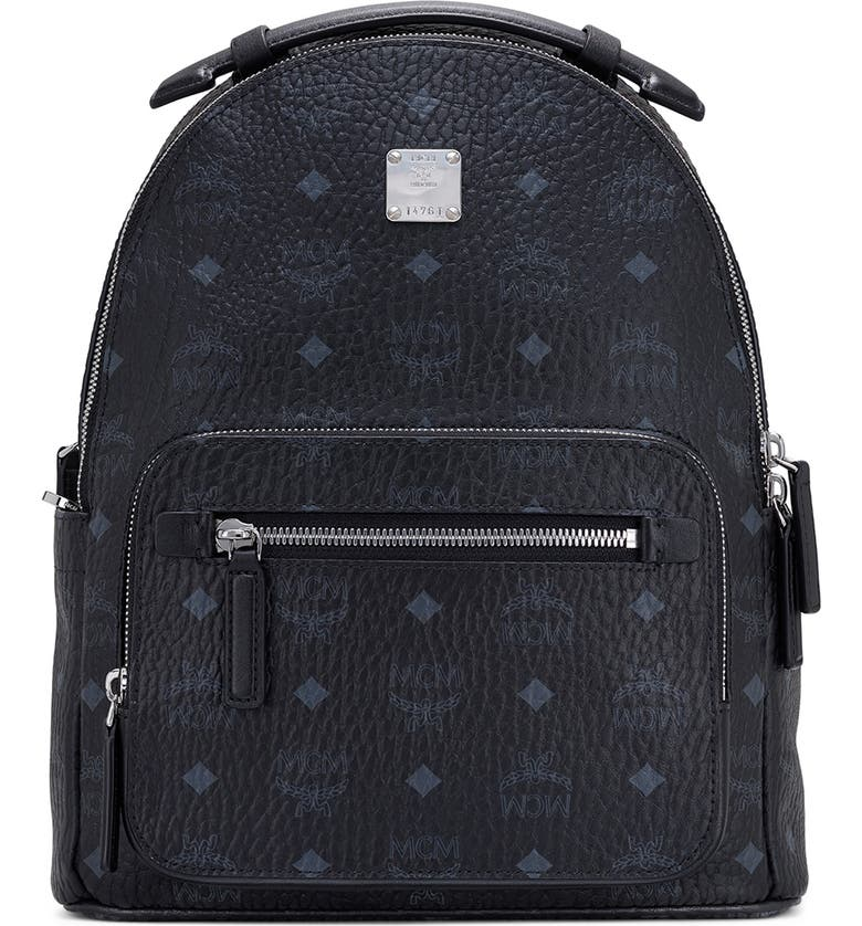 MCM Stark 32 Visetos Coated Canvas Backpack, Main, color, BLACK