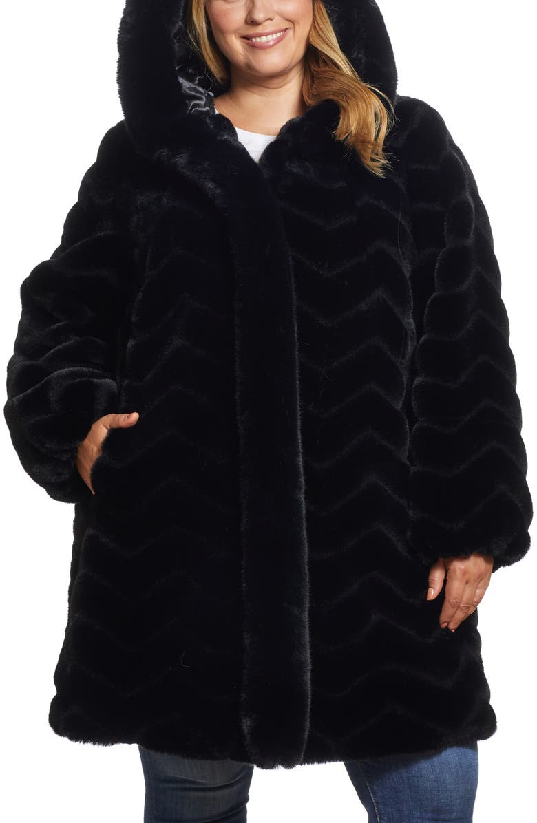 GALLERY Hooded Faux Fur Jacket, Main, color, BLACK