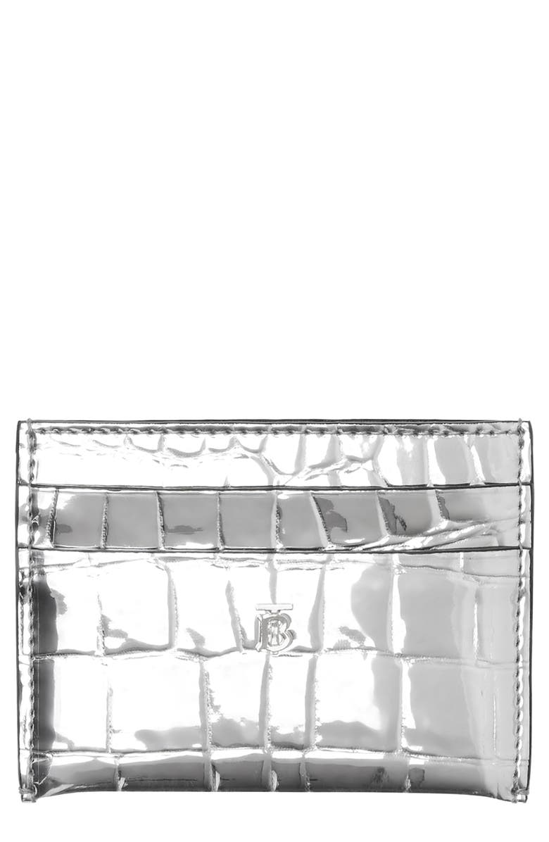 BURBERRY Sandon Metallic Croc Embossed Faux Leather Card Holder, Main, color, 040