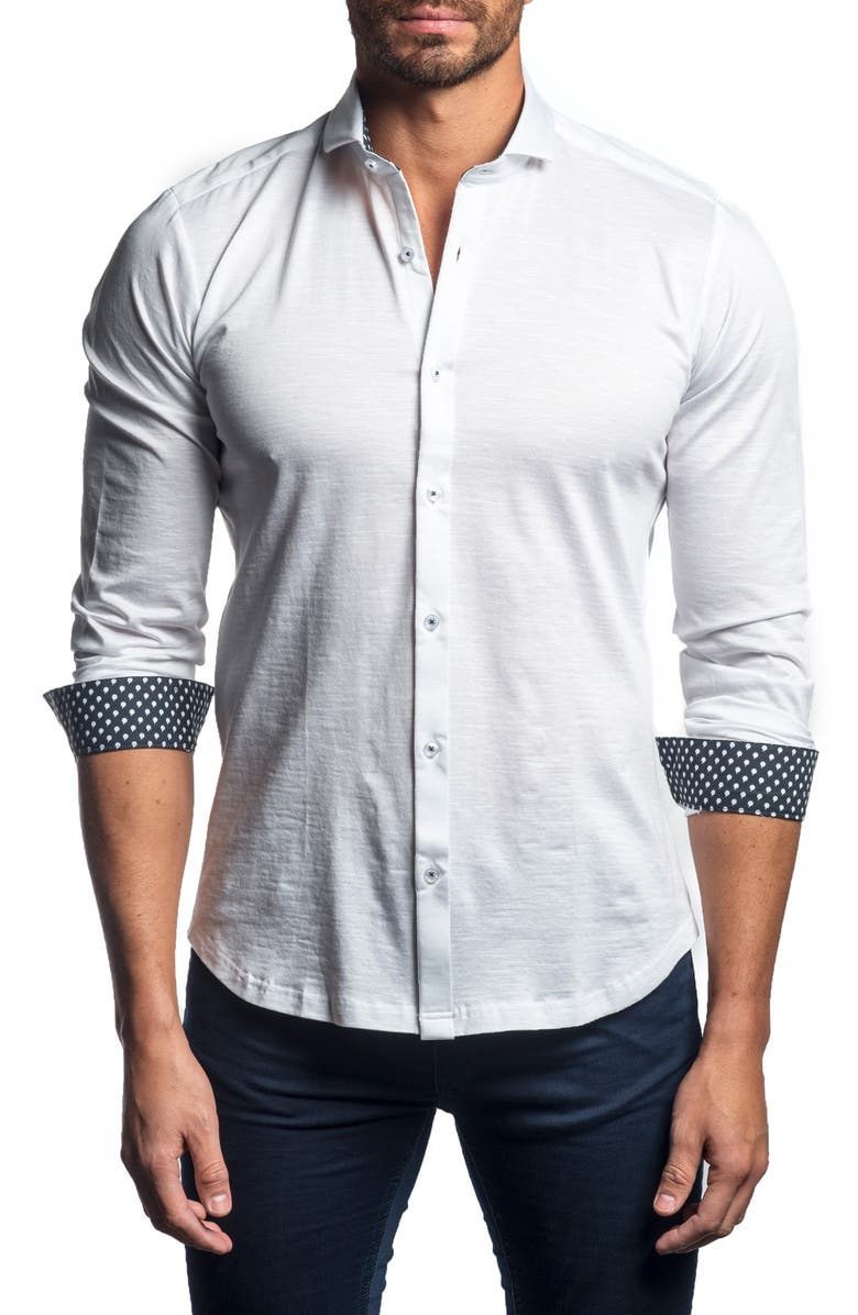 JARED LANG Slim Fit Button-Up Sport Shirt, Main, color, 100