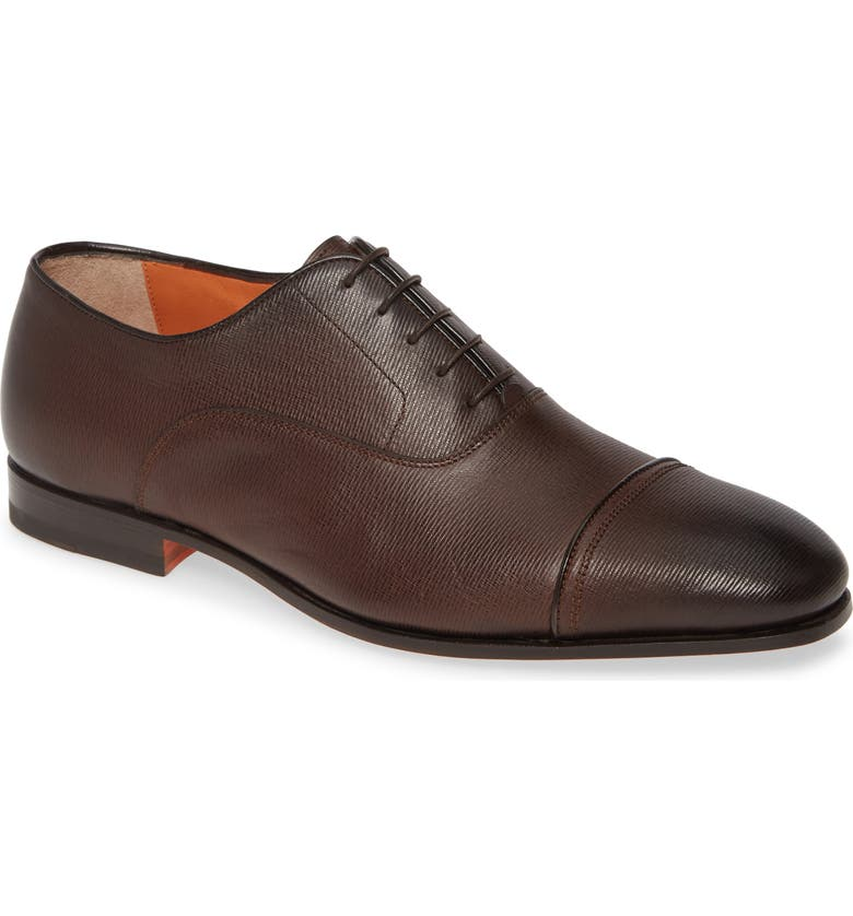 SANTONI Iafet Cap Toe Oxford, Main, color, Dark Brown