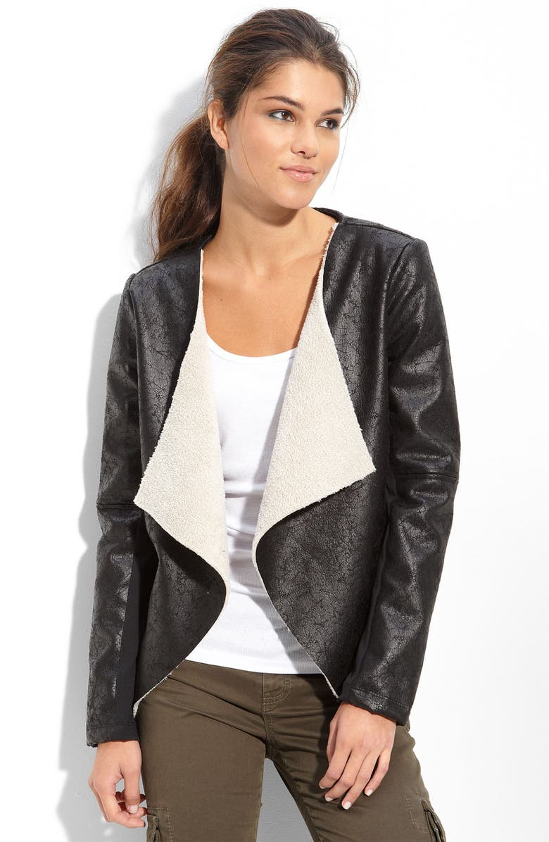 MATTY M Faux Shearling Jacket, Main, color, 001