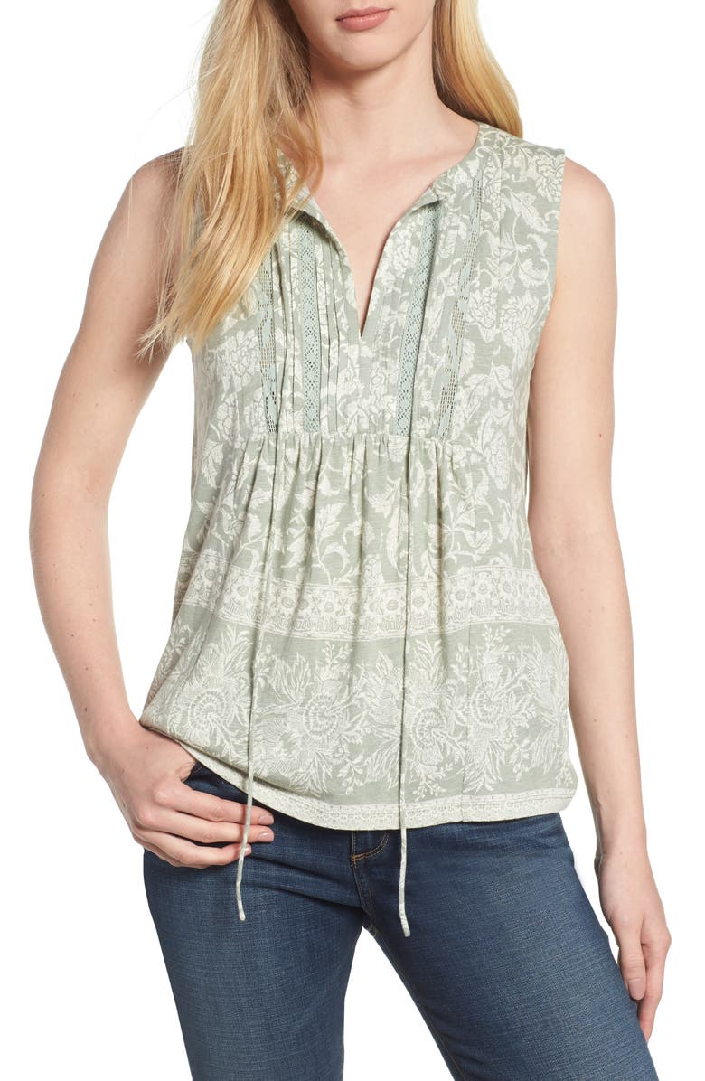 LUCKY BRAND Sleeveless Lace Mix Top, Main, color, 320