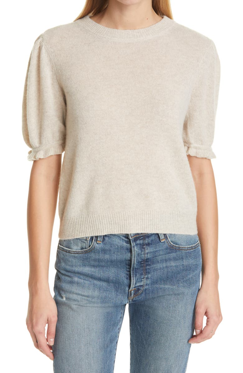 FRAME Ruffle Puff Sleeve Recycled Cashmere Sweater, Main, color, OATMEAL HEATHER