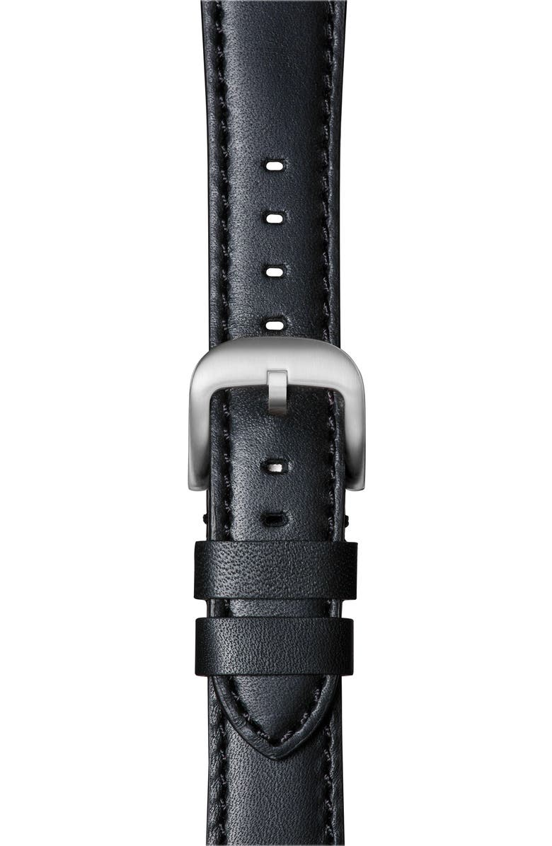 SHINOLA Rail Road Leather Apple Watch<sup>®</sup> Strap, Main, color, NAVY/ SILVER