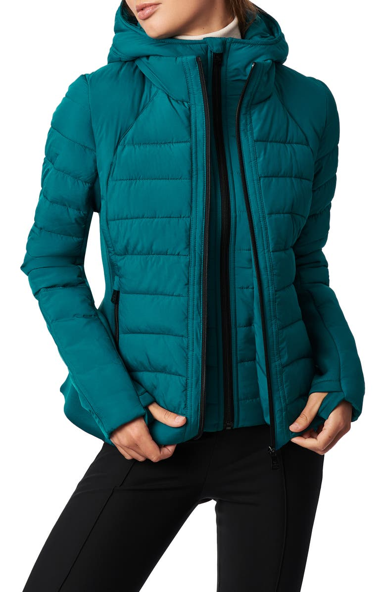 BERNARDO Hooded Quilted Water Repellent Jacket, Main, color, SHADDED SPRUCE