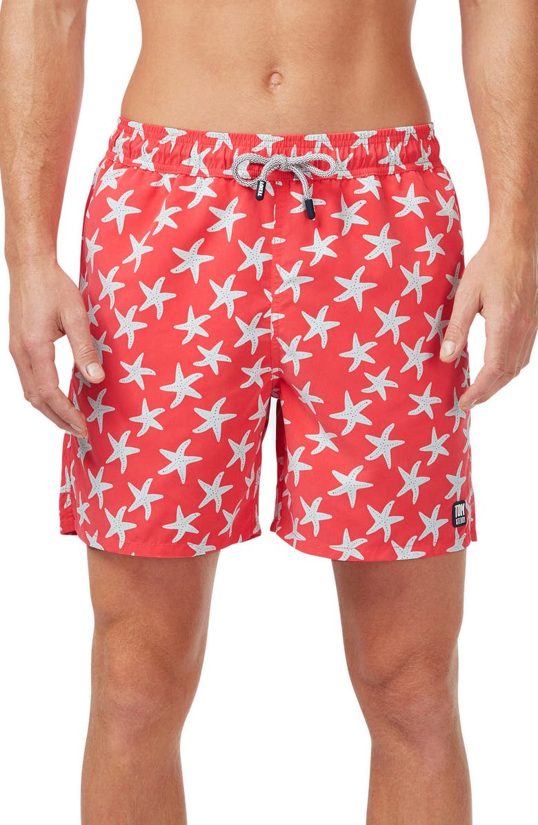 TOM & TEDDY Starfish Print Swim Trunks, Main, color, ROSE/ BLUE