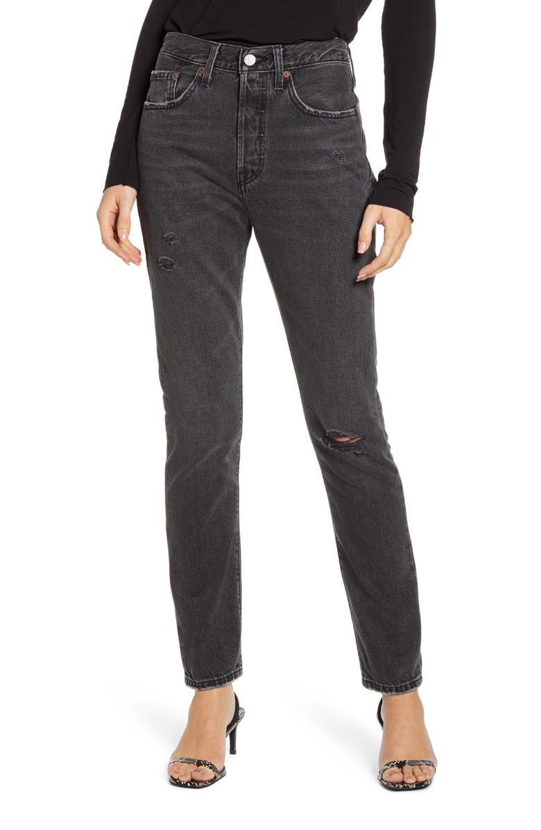 LEVI'S<SUP>®</SUP> 501<sup>®</sup> Ripped High Waist Skinny Jeans, Main, color, BLACK MAIL