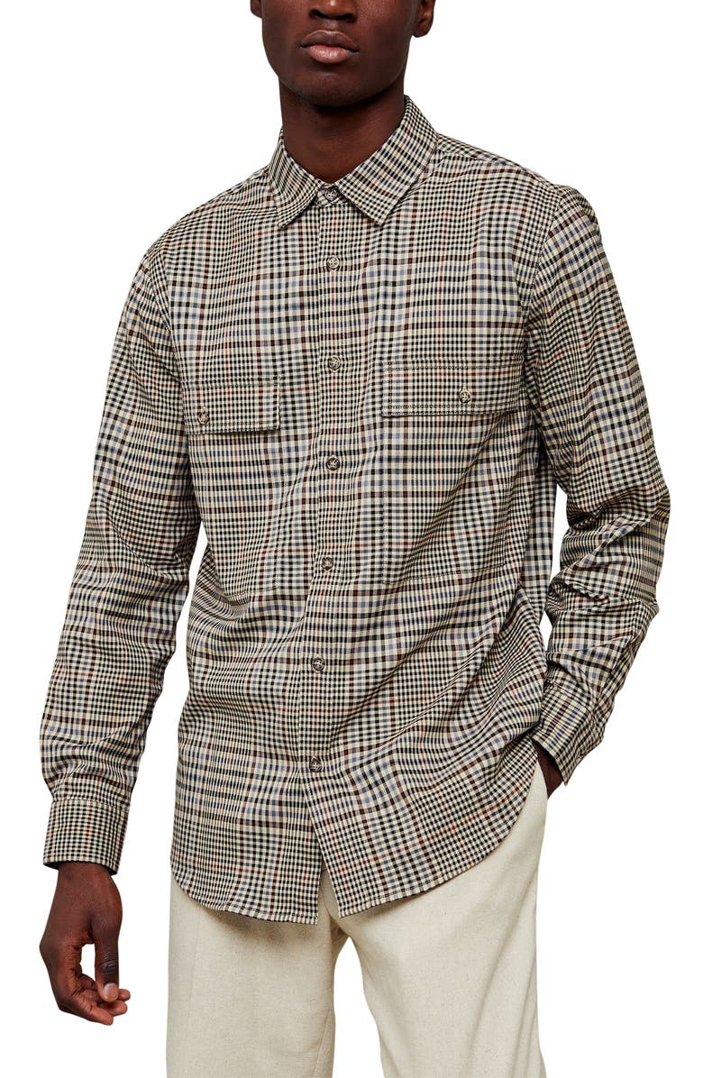 TOPMAN Checked Long Sleeve Button-Up Shirt, Main, color, BEIGE MULTI
